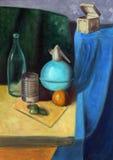 Still life painting. With bottles, box, grapes, tin and mandarin Stock Photos