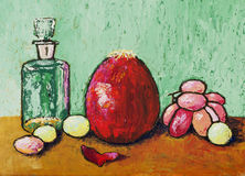 A still life painting. With a red onion Stock Photo