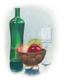 Still life painting with fruit bowl wine glass and green bottle. Hand painted oil pastel traditional still life with green glass bottle and fruit bowl of bright Royalty Free Stock Image