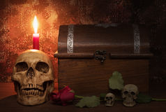 Still life painting photography with human skull, rose, candle a Royalty Free Stock Photography