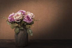 Still life painting photography with roses. Vintage style concept stock image