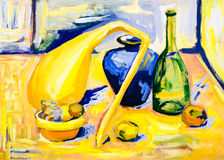Still life painting pumpkin bottle retro bowl fruits Royalty Free Stock Images