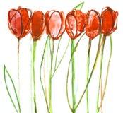 Still life painting tulips.