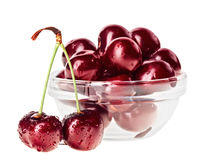 Still life with pair of red wet cherry fruit Stock Images