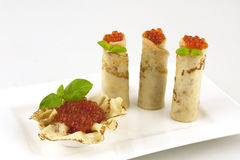 Tasty russian pancakes with caviar Stock Photo
