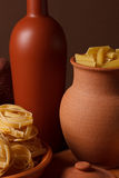 Still life with pasta and ceramic ware Royalty Free Stock Image