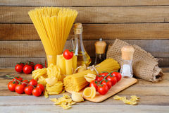 Still life with pasta and ingredients Royalty Free Stock Photo