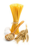 Still life with pasta ingredients isolated on white Royalty Free Stock Photography