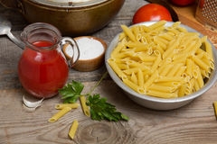 Still life with pasta Stock Photos
