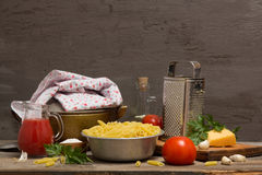 Still life with pasta Stock Images