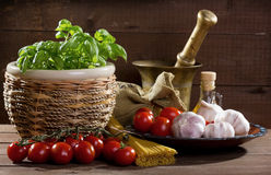 Still life with pasta and vegetables Stock Photography