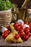 Still life with pasta and vegetables Royalty Free Stock Photo