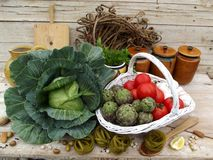 Still life with pasta and vegetables Stock Images