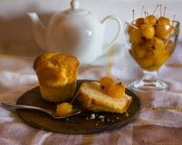 Still life with pastries and sweets royalty free stock image