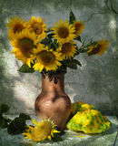 Still life with patisons and sunflowers Stock Photography