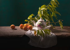 Still life with peaches. In dark color range Stock Image