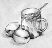 Still life with peaches and a mug of coffee or tea. Still life with a pair of peaches and a mug of coffee or tea with spoon. Drawn by hand, pencil sketch on Stock Image