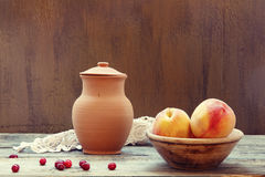 Still life with  peaches Stock Images