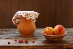 Still life with  peaches Stock Photo