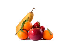 Still life of pears, apple, strawberries and mandarin on white background. Royalty Free Stock Images