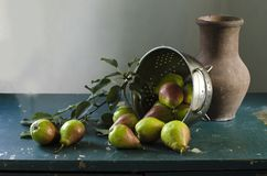 Still life with pears stock photo
