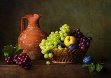 Still life with pears and grapes Stock Image