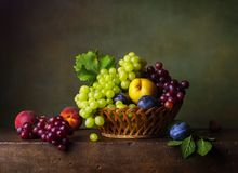 Still life with pears and grapes Stock Photos