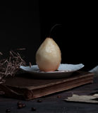 Still life. pears and old books on a dark background.  painting, vintage. Royalty Free Stock Images