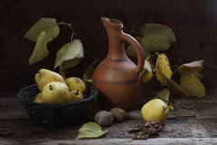 Still-life with pears, walnuts, a jug and an autumn branch Stock Images