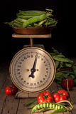 Still Life With Peas And Tomatoes Royalty Free Stock Images