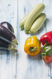 Still life with peppers courgettes and aubergines Royalty Free Stock Photo