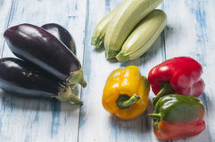 Still life with peppers courgettes and aubergines Royalty Free Stock Image