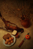 Still life with pheasant. Art still life with a pheasant and bread Stock Images