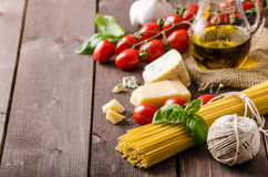 Still life photo, background with pasta and cheese Stock Photo