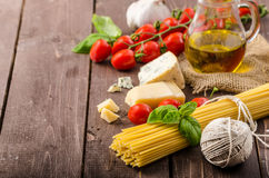 Still life photo, background with pasta and cheese Royalty Free Stock Photo