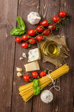 Still life photo, background with pasta and cheese Stock Image