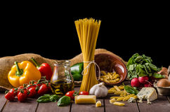 Still life photo, background with pasta and cheese Royalty Free Stock Images
