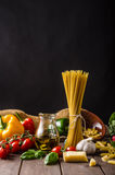 Still life photo, background with pasta and cheese Stock Photos
