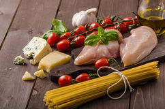 Still life photo, background with pasta and cheese Royalty Free Stock Photography