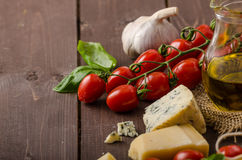Still life photo, background with pasta and cheese Royalty Free Stock Photos