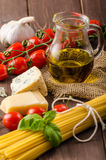 Still life photo, background with pasta and cheese Royalty Free Stock Image