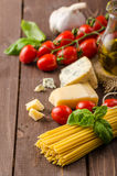 Still life photo, background with pasta and cheese Stock Images