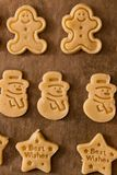 Christmas ginger cookies making still life. Still life photo of Christmas sweet ginger cookies making process, with dough and items Royalty Free Stock Images