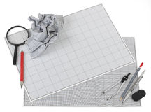 Still life photo of engineering graph paper Royalty Free Stock Image