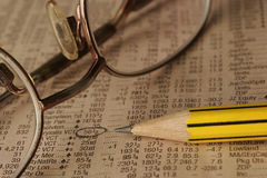 Still life photo of a newspaper with Stock market data Stock Images