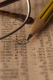 Still life photo of a newspaper with Stock market data Stock Photo