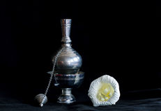 Still life photography dead concept by small container and paper flower Stock Photography