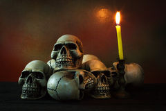 Still life photography with human skull. Still life photography concept with human skull stock photography