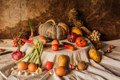 Still life photography with pumpkin, spices, herbs Royalty Free Stock Images