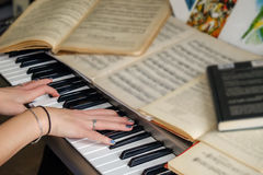 Still life piano notes. A beautiful still life of a piano and notes stock photo